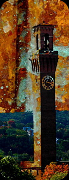 waterbury clock tower with a rust textured background / overlay